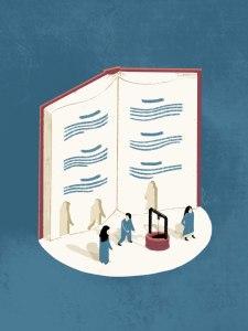 Libro en vertical abierto del que salen, recortados, tres personajes.