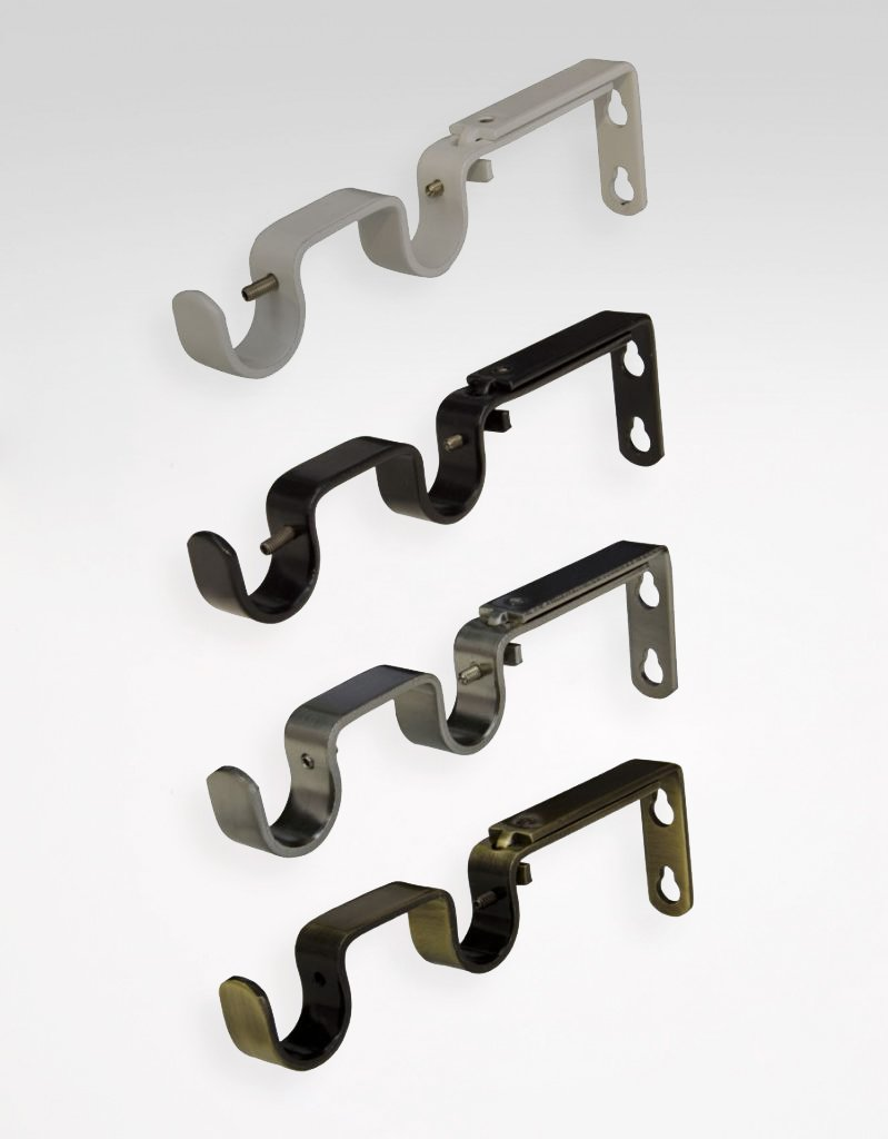 double curtain rod bracket several colours 16 19 mm
