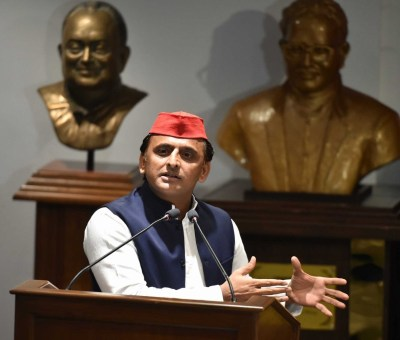 Lucknow: Samajwadi Party chief Akhilesh Yadav addresses during a programme, in Lucknow on Oct 6, 2018. (Photo: IANS)