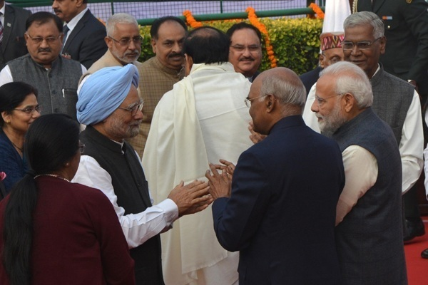New Delhi: President Ram Nath Kovind, Prime Minister Narendra Modi and Former Prime Minister Manmohan Singh during a programme organised to pay tributes to Dalit icon B. R. Ambedkar on his death anniversary at Parliament House Complex in New Delhi, on Dec 6, 2018. (Photo: IANS)