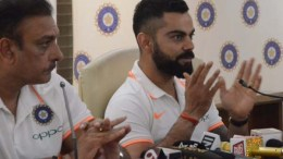 Mumbai: Indian captain Virat Kohli accompanied by head coach Ravi Shastri, addresses a press conference ahead of the team's departure for the tour of Australia; in Mumbai on Nov 15, 2018. India prepares for the challenging tour to Australia, that includes four Tests, three ODIs and as many T20Is. (Photo: IANS)