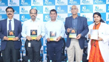 (L-R) Dr. Vijay Mohan Reddy, Director Medical Services, Apollo Hospitals; Dr. Hari Prasad, President-Hospitals Division, Apollo Hospitals Group; Dr. Harish Seethamraju, Medical Director, Advanced Lung Failure & Lung Transplant, Montefiore Medical Center, New York; Dr. A.G.K. Gokhale, Sr. Consultant, Cardiothoracic, Transplant & Minimal Access Surgery, Apollo Hospitals & Dr. Battu Chaithanya, Consultant Pulmonologist, Apollo Hospitals, with the poster on the International Conference on Management of Advanced Lung Diseases and Lung Transplantation, being organised by Apollo Hospitals & Montefiore Medical Center, New York, at a press conference on Friday at Apollo Hospitals, Jubilee Hills.