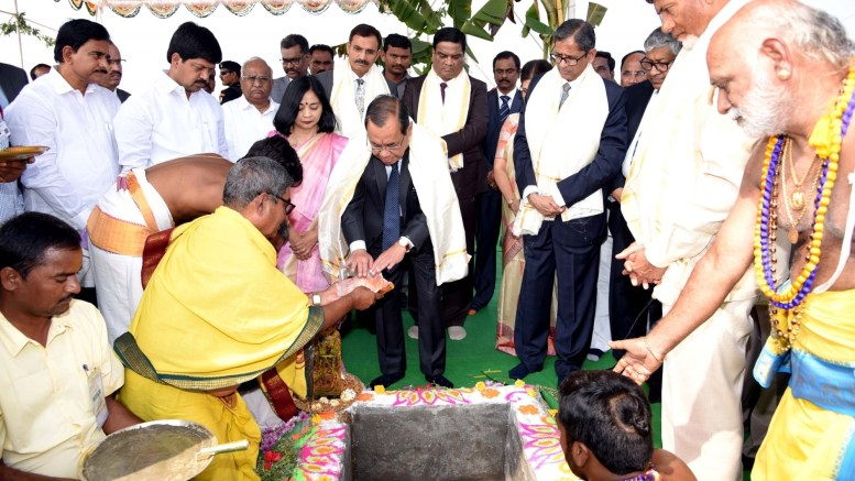 Amaravati: Chief Justice of India (CJI) Justice Ranjan Gogoi performs rituals at the foundation stone laying ceremony for the permanent building of Andhra Pradesh High Court in Amaravati, on Feb 3, 2019. He also inaugurated the interim complex of High Court. Also seen Andhra Pradesh Chief Minister N. Chandrababu Naidu. (Photo: IANS)