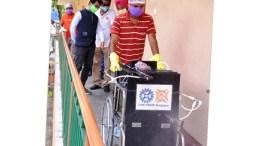 Mobile indoor disinfectant unit. Scientists develop mobile indoor disinfection sprayer