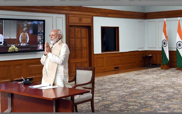 Prime Minister, Shri Narendra Modi paying tributes to the Martyrs during the Virtual Conference with the Chief Ministers, in New Delhi on June 17, 2020