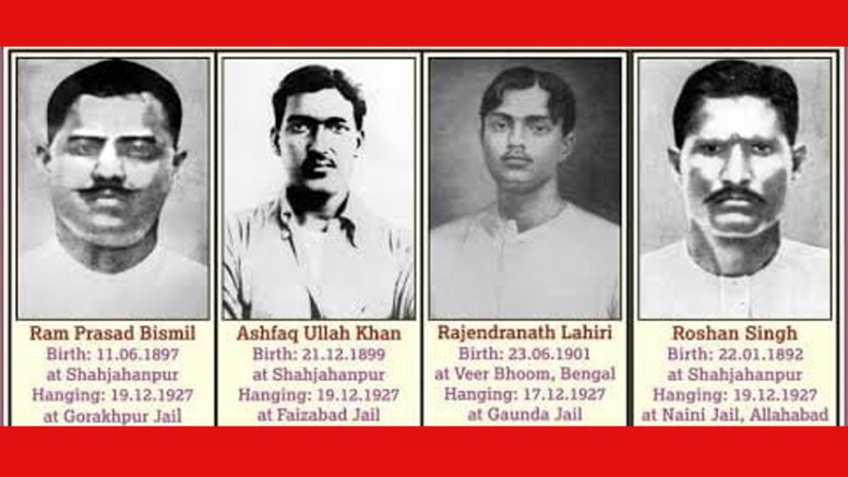 Ram Prasad Bismil, Thakur Roshan Singh, Rajendra Nath Lahiri and Ashfaqullah Khan