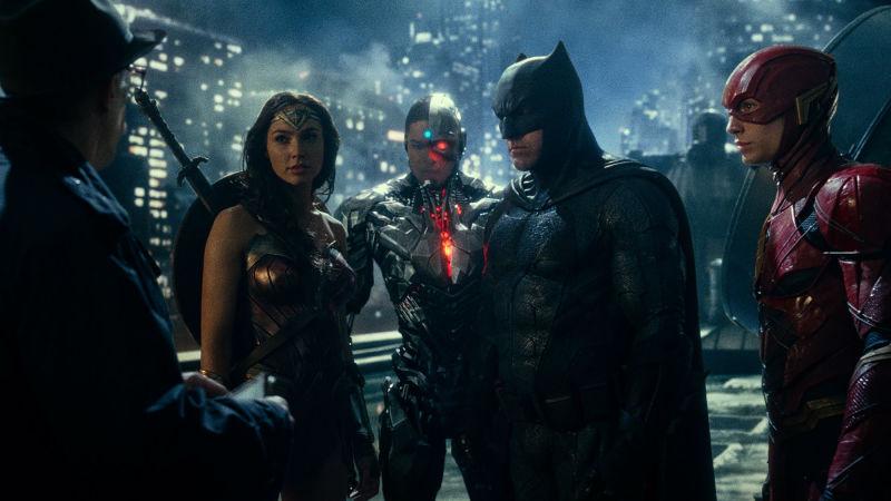 Comissário Gordon (Comissar Gordon), Batman, Flash, Ciborgue (Cyborg), Mulher - Maravilha (Wonder Woman)