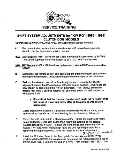 small resolution of omc cobra shift system ajustments for kw rg page 1 160k