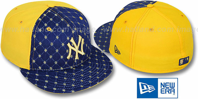 New York Yankees Imperial Navy Yellow Fitted Hat By New Era