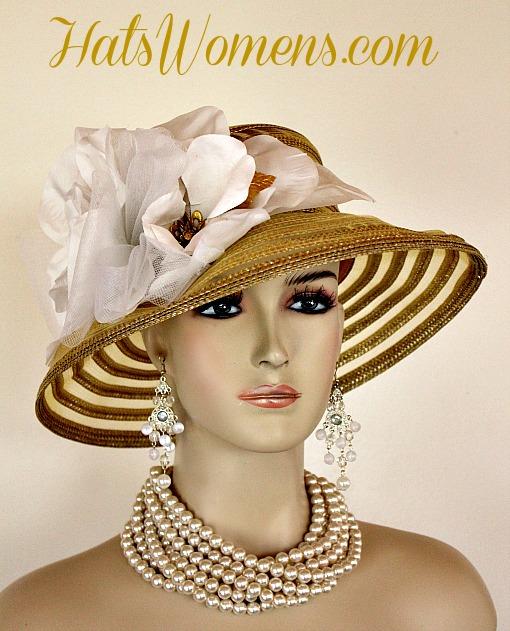 58100c83869bf Metallic Gold White Sheer Brim Church Wedding Special Occasion Hat Women's  Designer Fashion Derby Hats