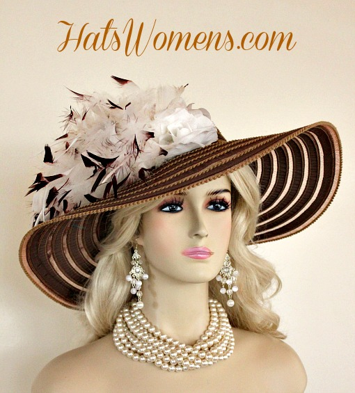 e4c03f61 Woman's Brown White Special Occasion Hats, Custom Bespoke Couture Woman's  Hats, Bridal Wedding Church