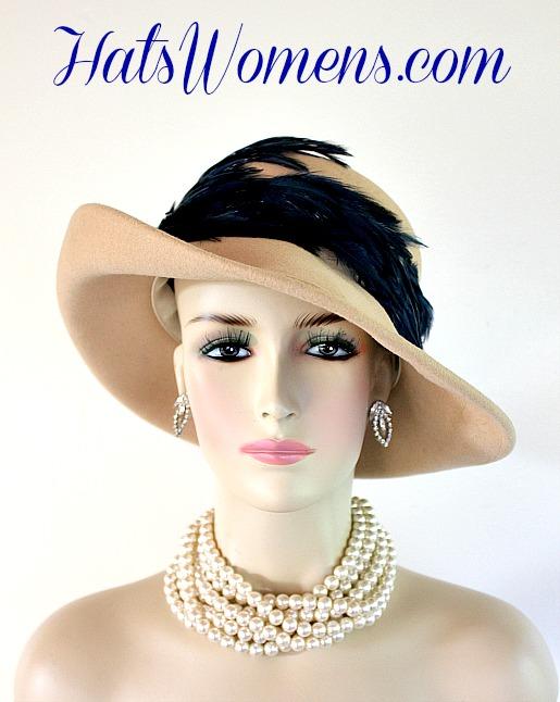e4e147ac2 Ladies Beige Navy Blue Designer Hat Hats, Women's Fashion Winter Wool Hat  Hats, Autumn
