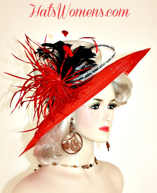 88fe1da7 Red Black White Hats For Wedding Guests, Winter Hats, Spring Hats Womans Red ,