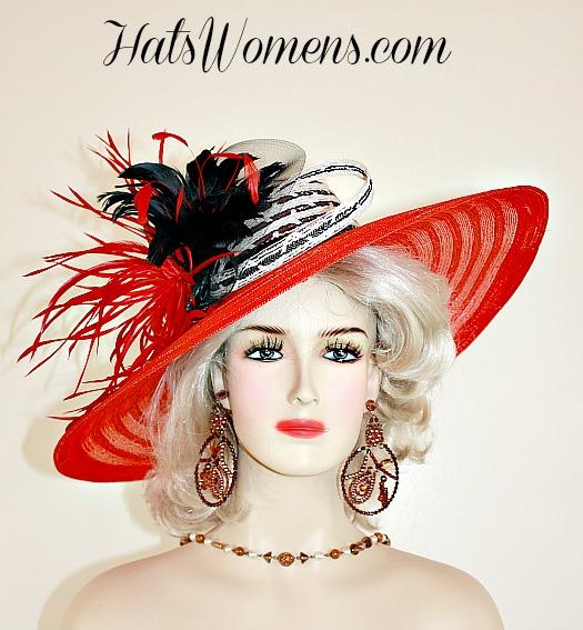 4f26f188 Ladies Red Black White Dress Hats, Designer Hats For Women, Woman's  Kentucky Derby Hats