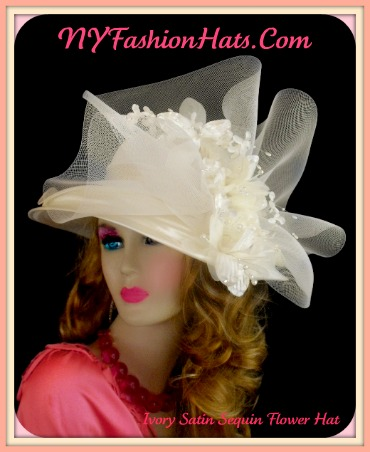c085044a Womens Ivory Satin Wide Brim Designer Hat, Kentucky Derby Hats, Bridal  Couture Headpiece Hat
