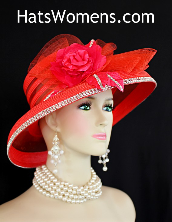 184bd27a Ladies Red Formal Kentucky Derby Hat With Rhinestones Roses, Formal Church  Special Occasion Hats For