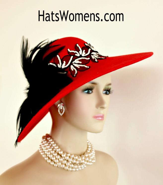 Kentucky Derby Church Dress Hat Wide Brim Leaf Flower Bridal Shower Hat Navy