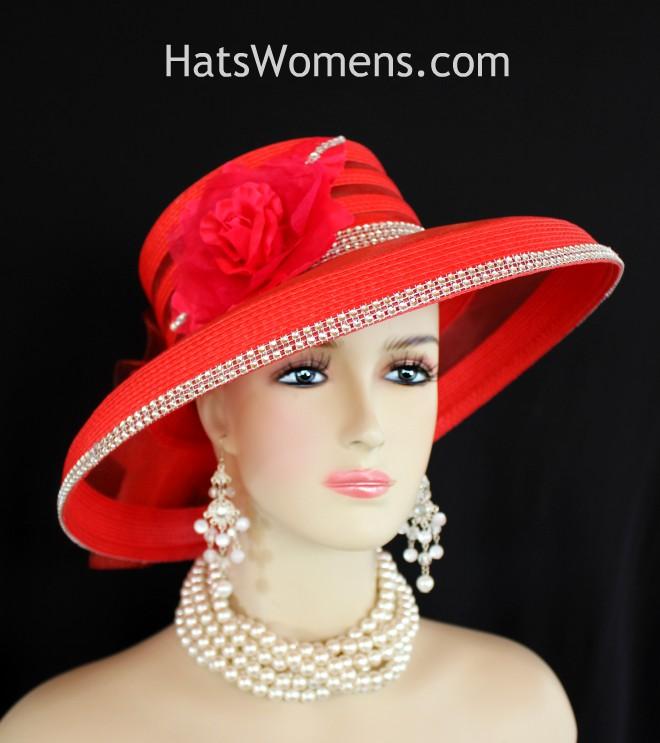 Kentucky Derby Hats, Red Rhinestone Roses Wide Brim