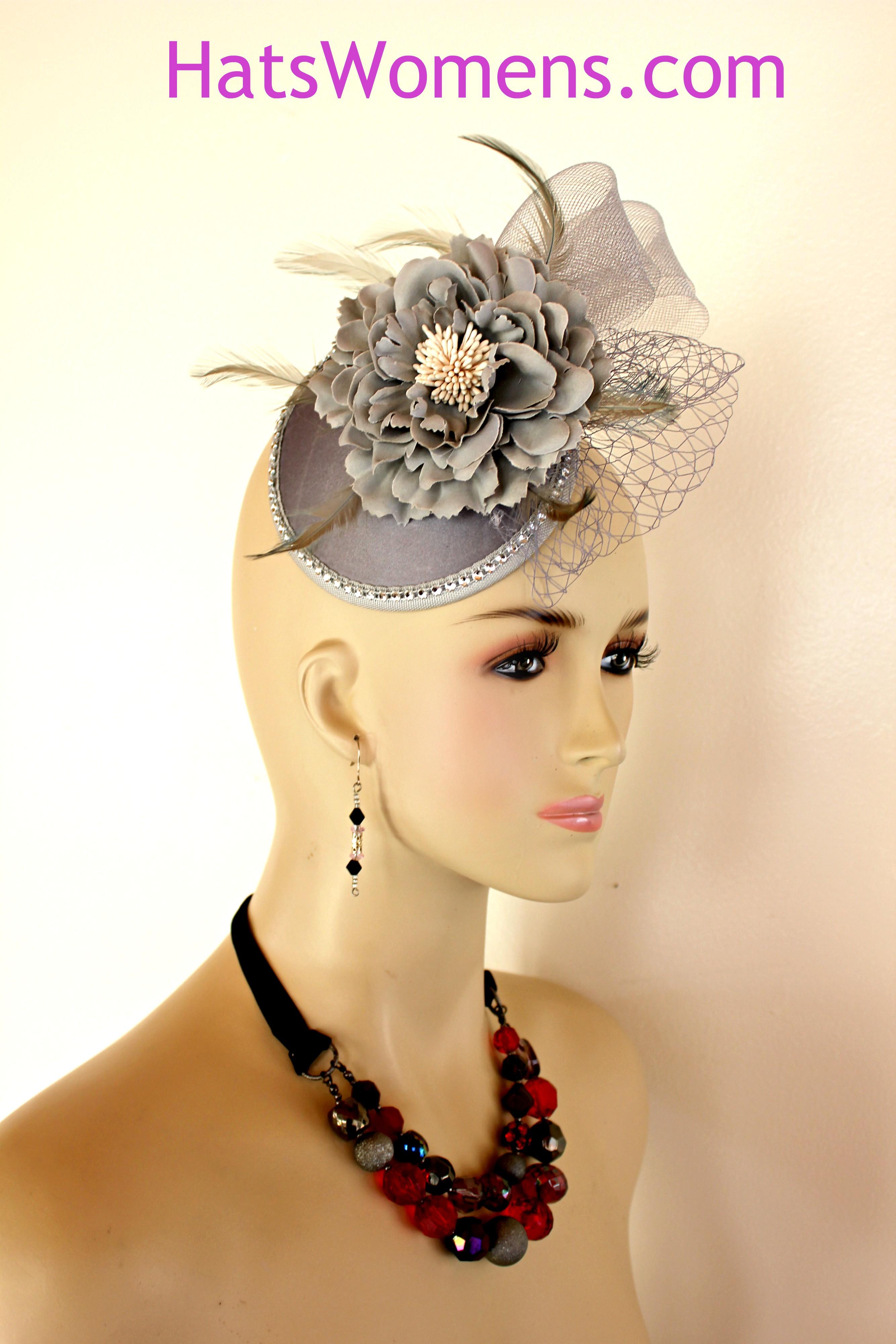 2689698e Ladies Silver Grey Wedding Bridal Fascinator, Cocktail Hats, Flapper Art  Deco Headpiece Bridal,