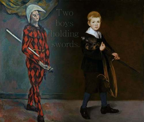 two boys holding swords
