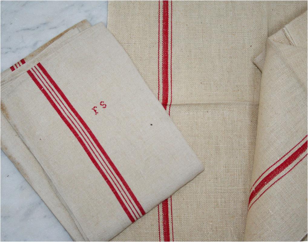 French Vintage Linen Tea Towels  Haunt  Antiques for the
