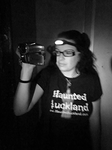 Tanya with video camera and headlamp