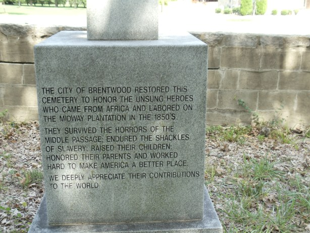 Inscription on Midway Plantation Slave Cemetery Memorial