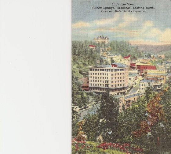 Rendering of Eureka Springs with Crescent Hotel in the background