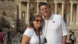 Wayne and I posing in front of the Library at Ephesus.