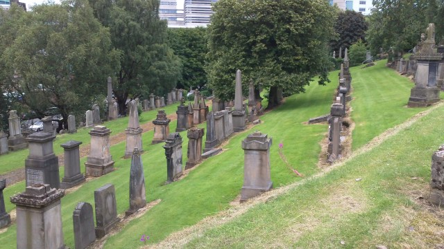 Glasgow Necropolis Downhill Tombstones