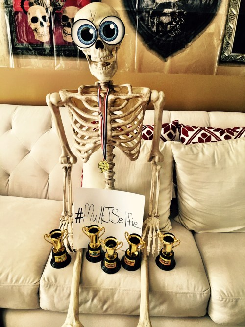 Skellie's Skelfie showing off the trophies we have up for grabs.
