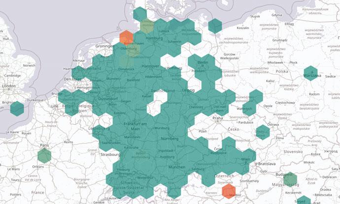 Landkarte von Luftdaten.info mit Daten zur Luftverschmutzung durch Feinstaubpartikel in Deutschland