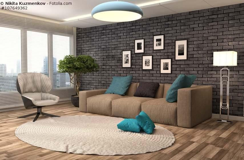 Sofa in Braun  Wohnzimmer mit Erdfarben einrichten