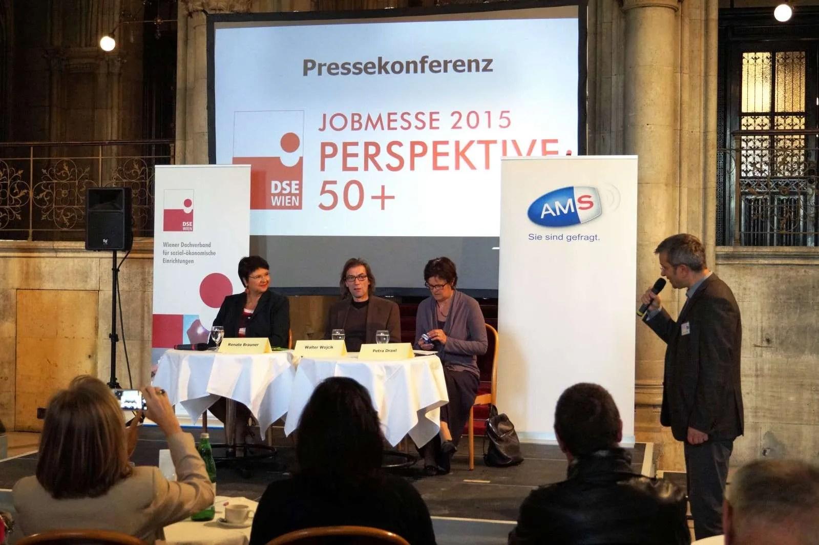 von links nach rechts Wirtschaftsstadträtin und Vizebürgermeisterin Renate Brauner,DSE-Präsident Walter Wojcik und AMS Wien-Chefin Petra Draxl