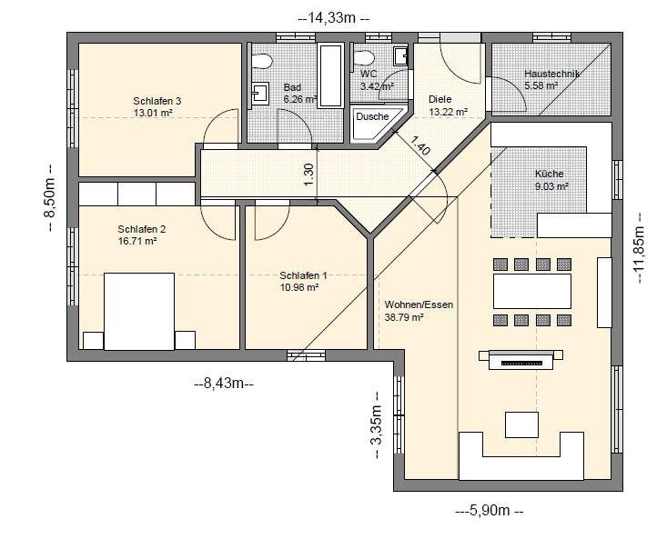 Grundriss Bungalow 110 Qm ~ Beste Von Zuhause Design Ideen