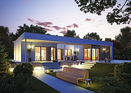 Fertighäuser, wie hier der Bungalowentwurf von OKAL Haus, werden immer beliebter. Ihr Marktanteil steigt in Deutschland von jahr zu Jahr. (Foto: OKAL Haus GmbH)