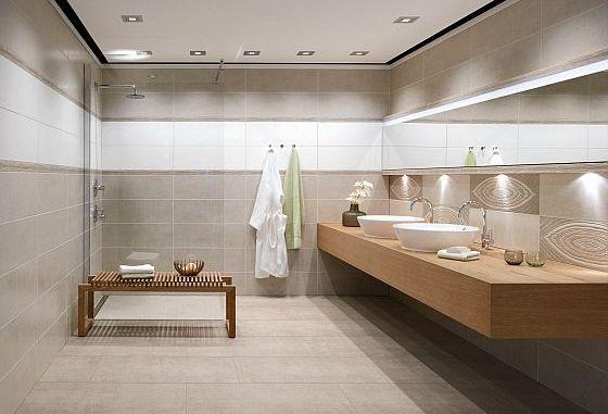 Auch wenn man es nicht sieht: Dieses Bad wurde komplett barrierefrei gestaltet. Ein unterfahrbarer Waschtisch, eine bodenebene Dusche mit genug Platz. (Foto: spp-o/IV-Agrob Buchtal)