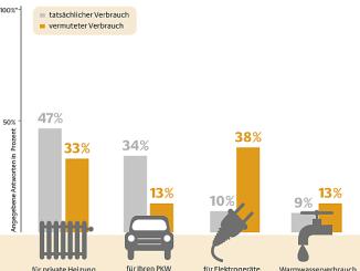 Vergleich der Einschätzung der Befragten mit dem realen Energieverbrauch (Grafik: dena)