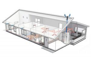 Mit dem Einbau einer effizienten Wärmepumpe können regenerative Quellen wie Luft, Wasser und Erdwärme für den Heizbedarf nutzbar gemacht werden. In Kombination mit der kontrollierter Wohnraumlüftung trägt sie zudem zu einer gesunden und sauberen Raumluft bei. (Foto: NIBE Systemtechnik GmbH)