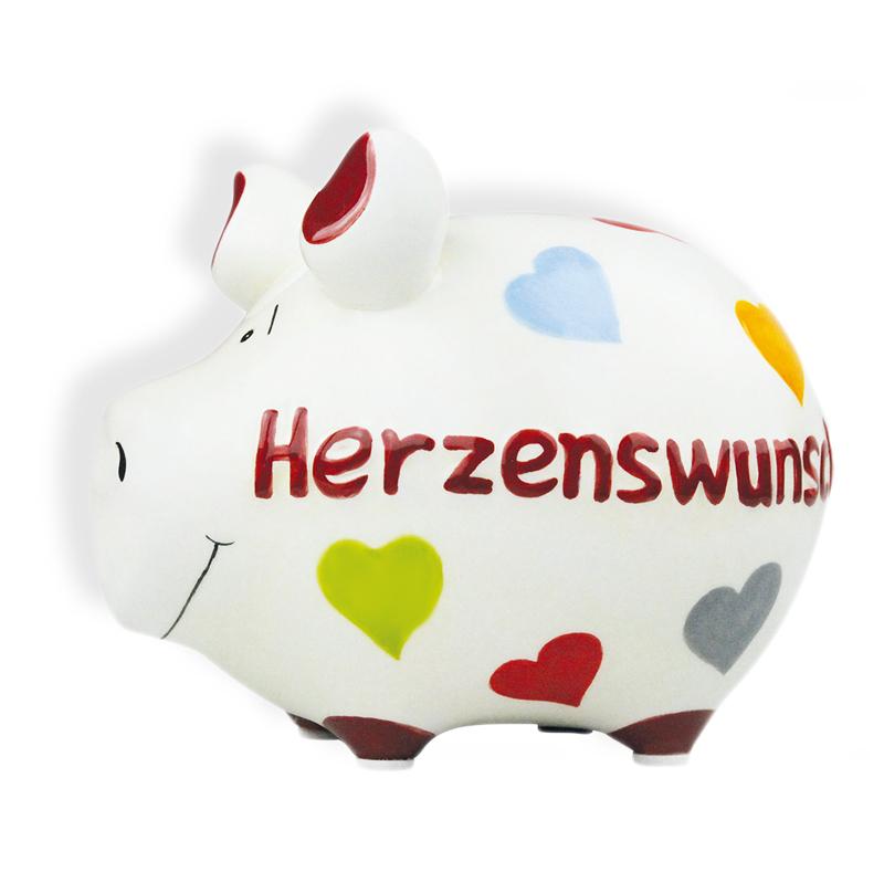 Sparschwein mit Herz Spardose Sparbchse Keramik Hochzeit Geldgeschenk  Herzenswunsch