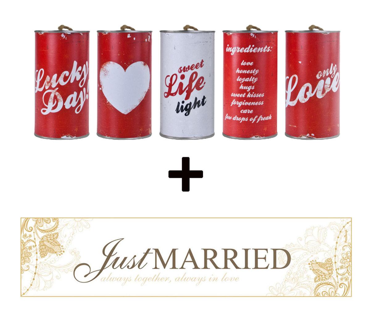 Brautauto Schild Just Married mit Hochzeitsdosen im Set