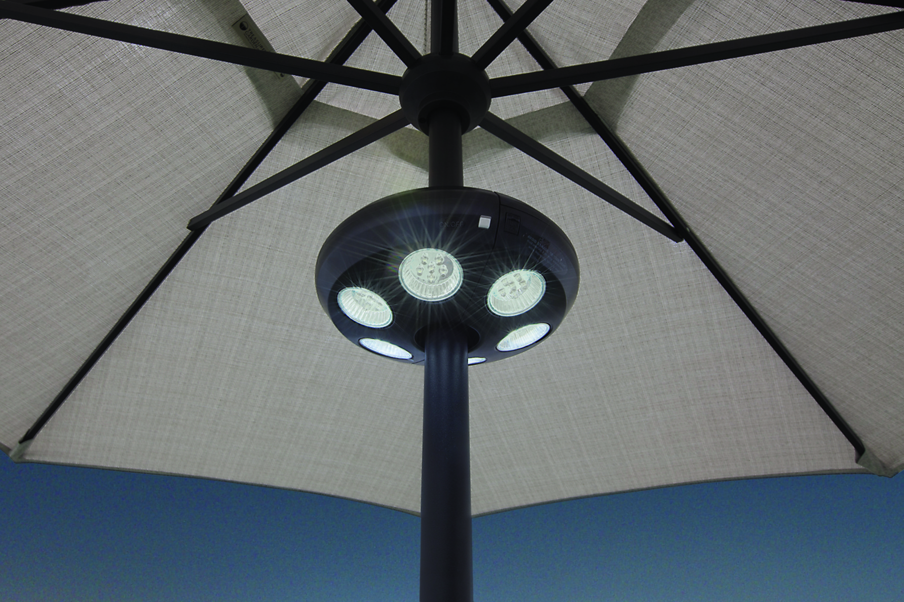 Large VEGA Umbrella Light w 36 LED Lights  Hausers Patio
