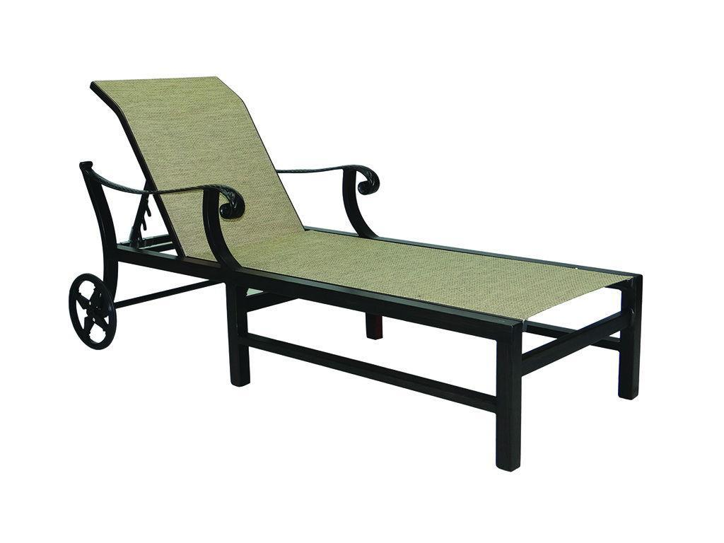outdoor chaise lounge chairs with wheels folding chair rack diy bellagio sling adjustable w hauser