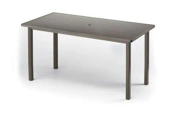42 x 84 rectangular bar height table with umbrella hole