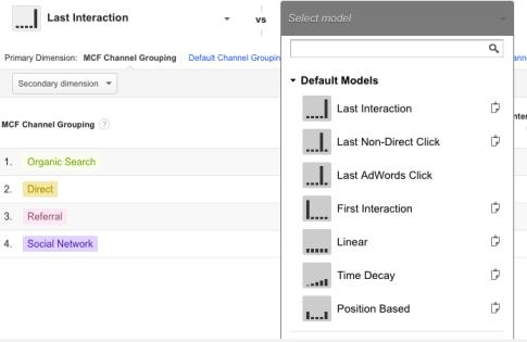multi-channel attribution comparison of models