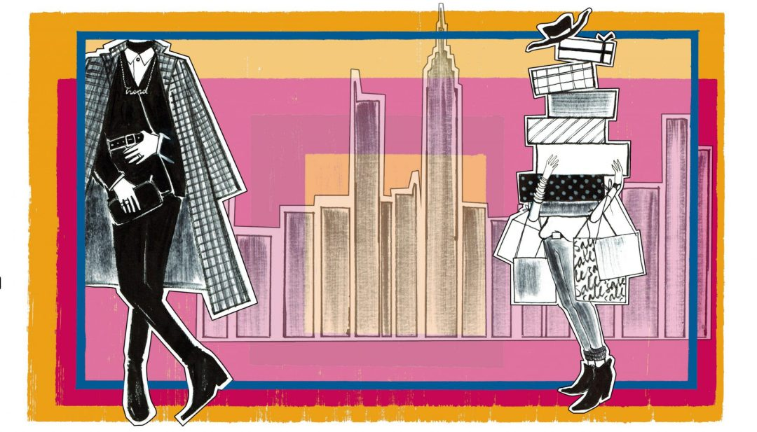 Man and woman in city illustration