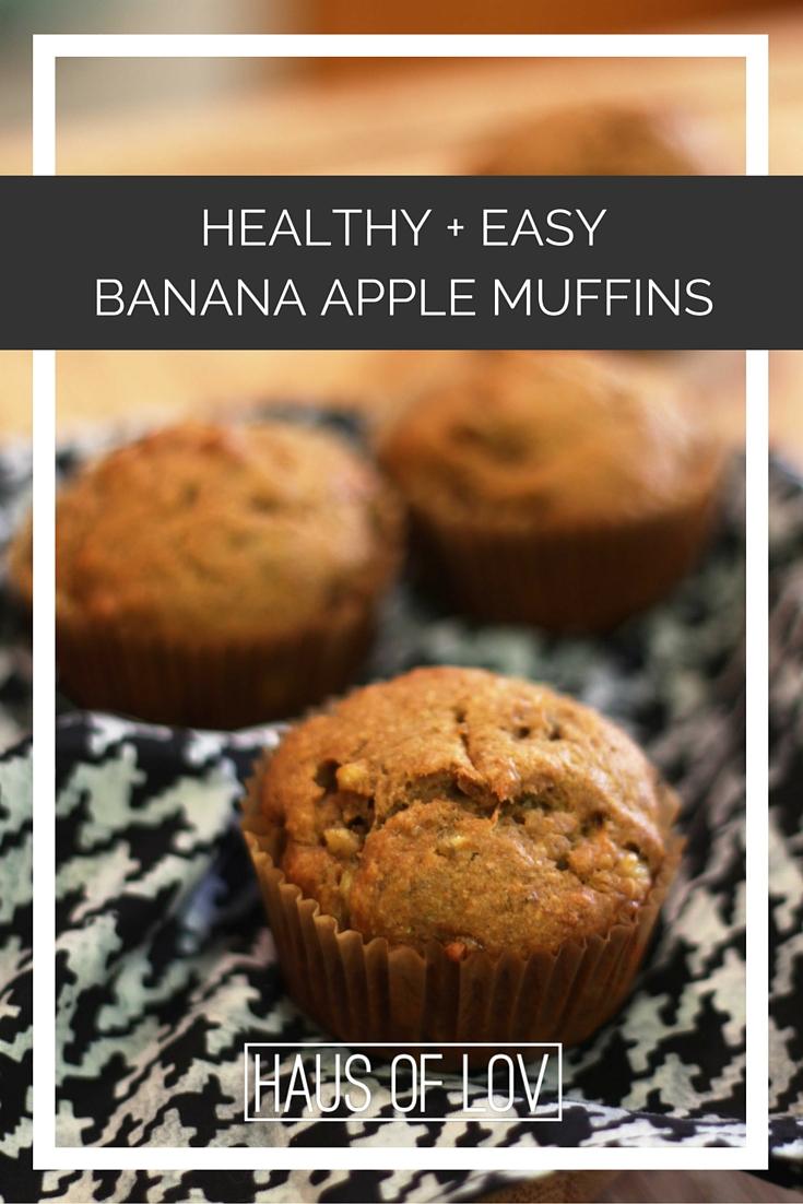 healthy banana apple muffins