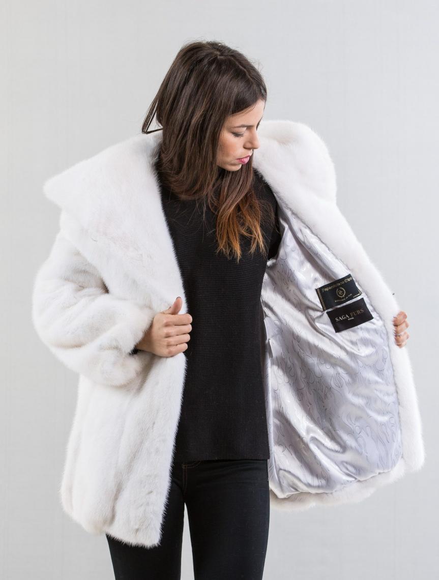 White Mink Fur Coat With Hood  Haute Acorn