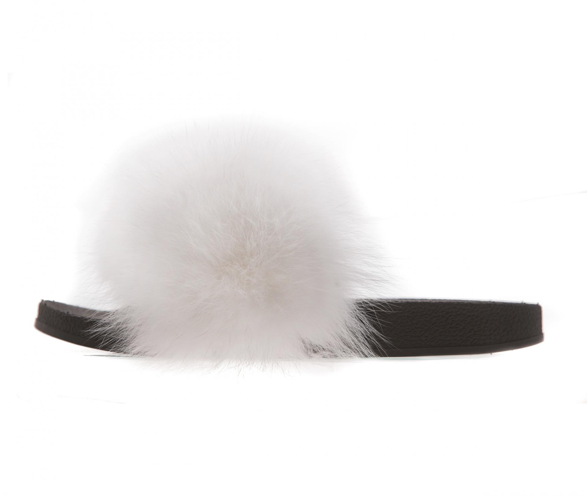 White Fur Slides Made of 100 Real Fur All Sizes Available