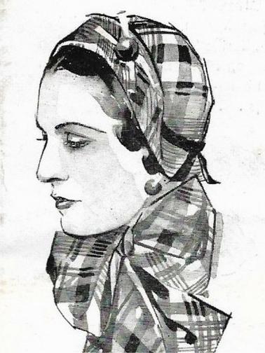 Hoed en shawl in folder van Hirsch & Cie Amsterdam